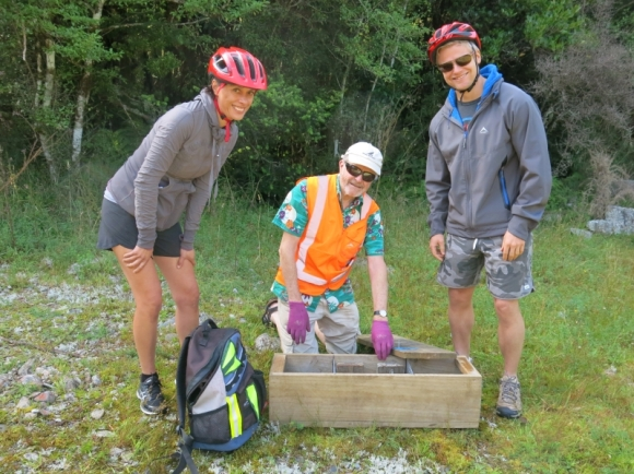 Volunteers on the cycleway section of the trapline.