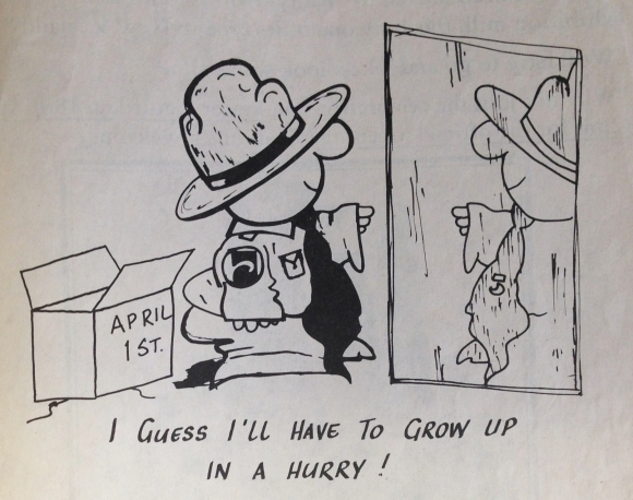 Cartoon snippet from the Westland Newsletter, 1 April 1987 of future DOC.
