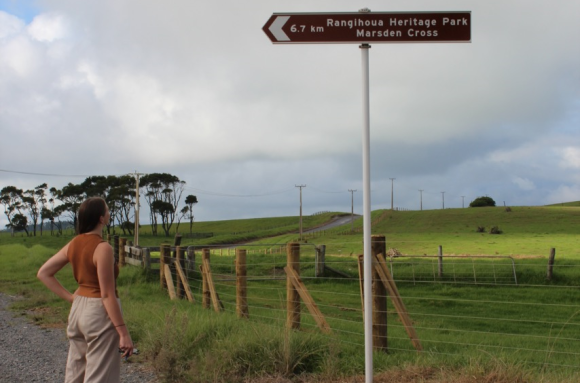 Follow a gravel road towards Rangihoua Heritage Park.