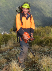 Sarwan at work on the Ajax Link Track during his time working in Reefton for DOC.