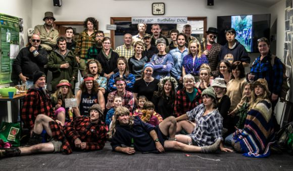 Rakiura/Stewart Island staff get into the 1980s bush wear groove for their DOC 30 celebrations. Photo: Laire Purik.