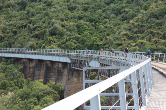 Riding across the historic Hapuawhenua Viaduct.