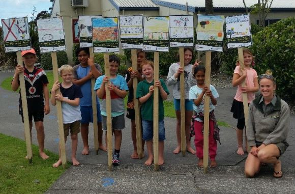 Signs for the local beach - created as part of the Dotterels in Schools programme.