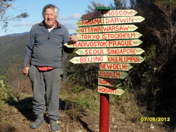 Landowner Rod Eatwell with one of his signs.