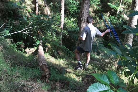 DOC ranger Rolf Fuchs tracking kiwi.