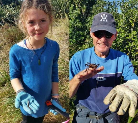 Mia with the wētā leg she found and volunteer Brian holding a Mahoenui Giant Wētā. Photo: Alaine Holdom.