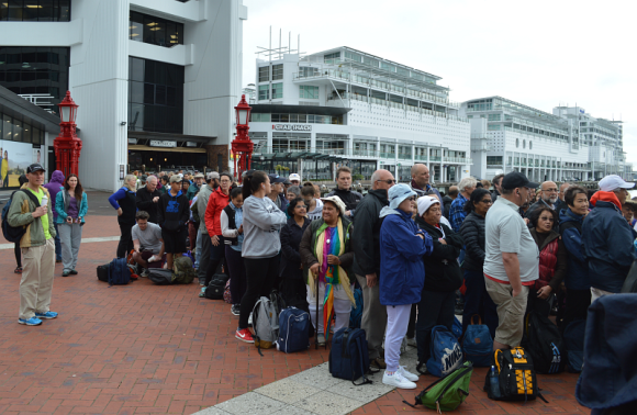 150+ walkers ready to board the Fullers ferry.