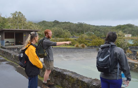DOC ranger Charlie Barnett talks to visitors about the island.