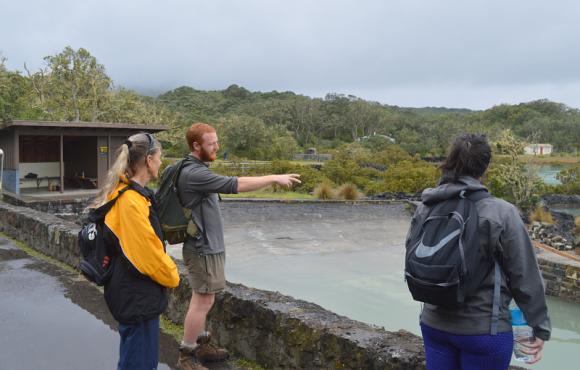 DOC ranger Charlie Barnett talks to visitors about the island.