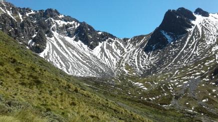 Mountainous terrain of the Murchison Mountains. Photo: DOC