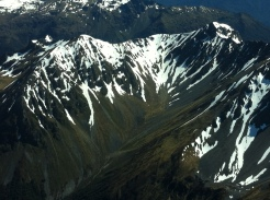 View of the Murchison Mountains from the air. Photo:DOC
