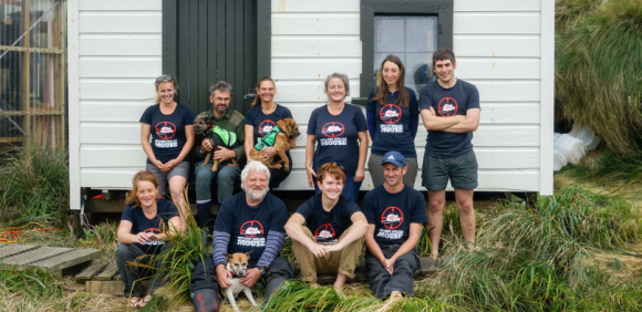 Monitoring team 2018 in front of Castaway Depot. Photo: Fin Cox.