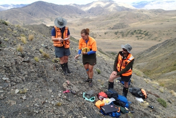 A DOC field team at a biodiversity monitoring site in the Molesworth. Photo: Jane Gosden.