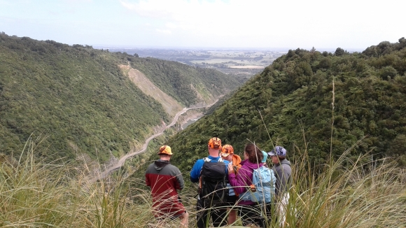 Some of the Milson Scout Troop confer over data above the now closed Manawatu Gorge Road.
