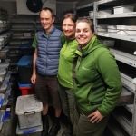 Life in the fridge exists! Snail experts Rodney and Fiona Anderson with Nic Toki at the captive breeding facility in Hokitika.