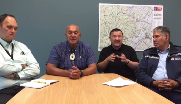 The Iwi Advisory Group makes daily updates to iwi and communities, using Facebook Live. Pictured: Shane Graham (TPK), Barney Thomas (DOC), Paul Palmer, Dexter Traill (NZ Police). Credit: Nelson Tasman Civil Defence.