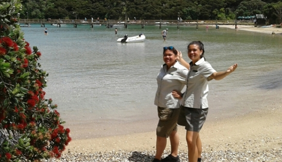 What an office! Kata and Kyla at Otehei Bay, Urupukapuka Island.