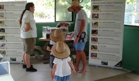 Kata with visitors to the Otehei Bay Conservation Centre.